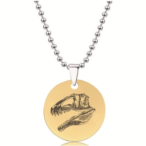 BLINGPAW Stainless Steel Pendant Neckalce Dinosaur Fossil Tyrannosaurus T-rex Keychain Dog tag Bag Ornaments Gold Black Silver