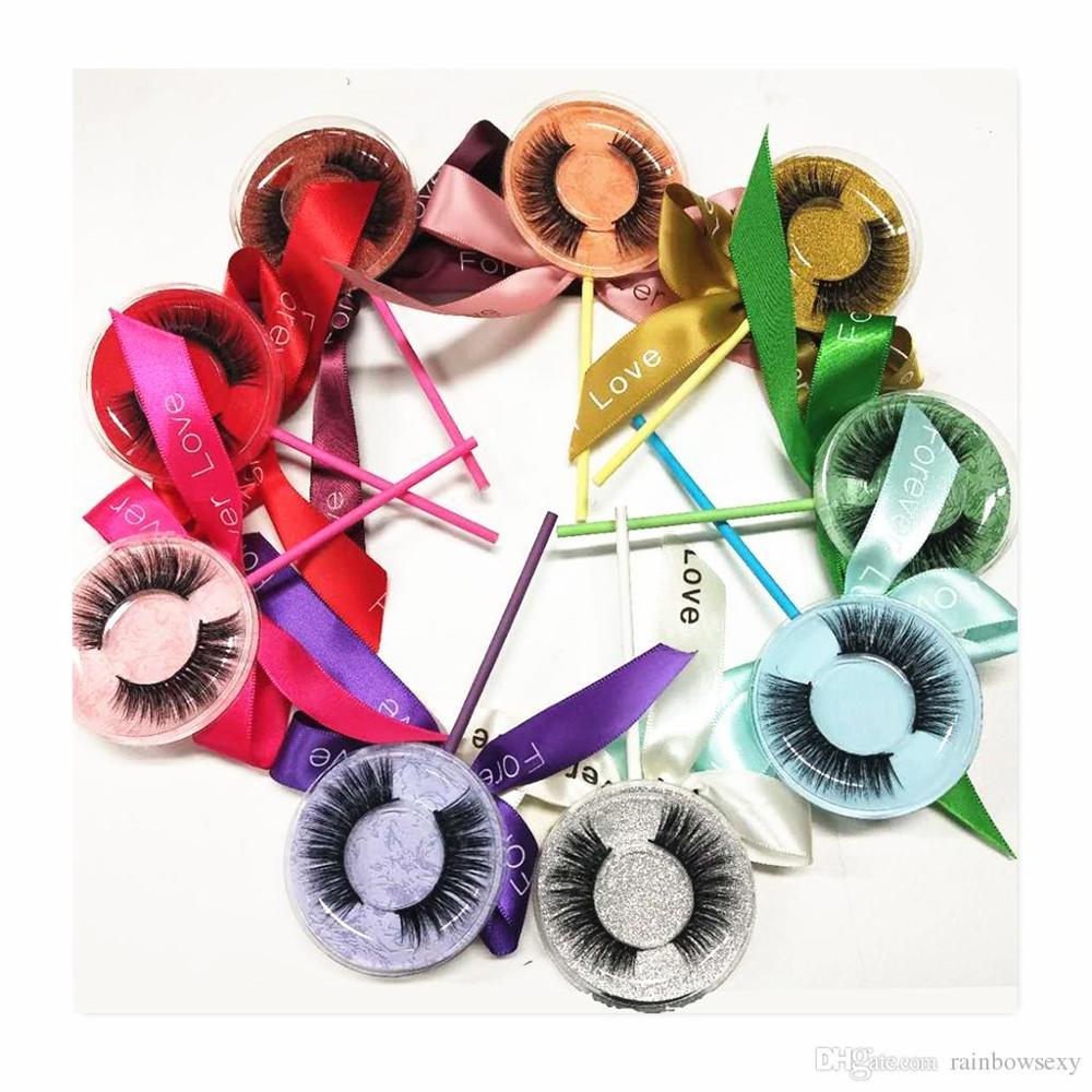 Seashine 10pcs Lollipop Mink Lashes False Lashes 16 Styles 3D Faxu Mink Eyelashes Extension Accept OEM Rainbow Color Lollipop