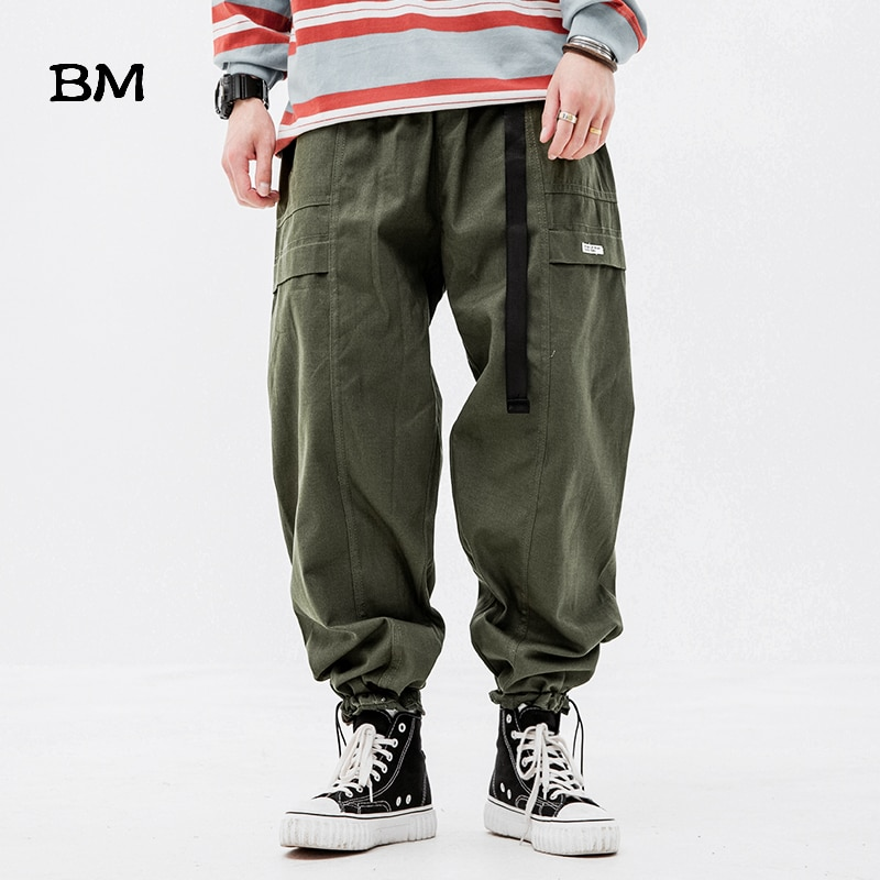 2020 Japanese Streetwear Loose Straight Cargo Pants Men Hip Hop Sport Joggers Army Green Harajuku Fashion Techwear Trousers