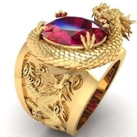 3d tyrannosaurus red crystal inlaid ring mens fashion 3d dragon totem ring very beautiful party jewelry band on finger