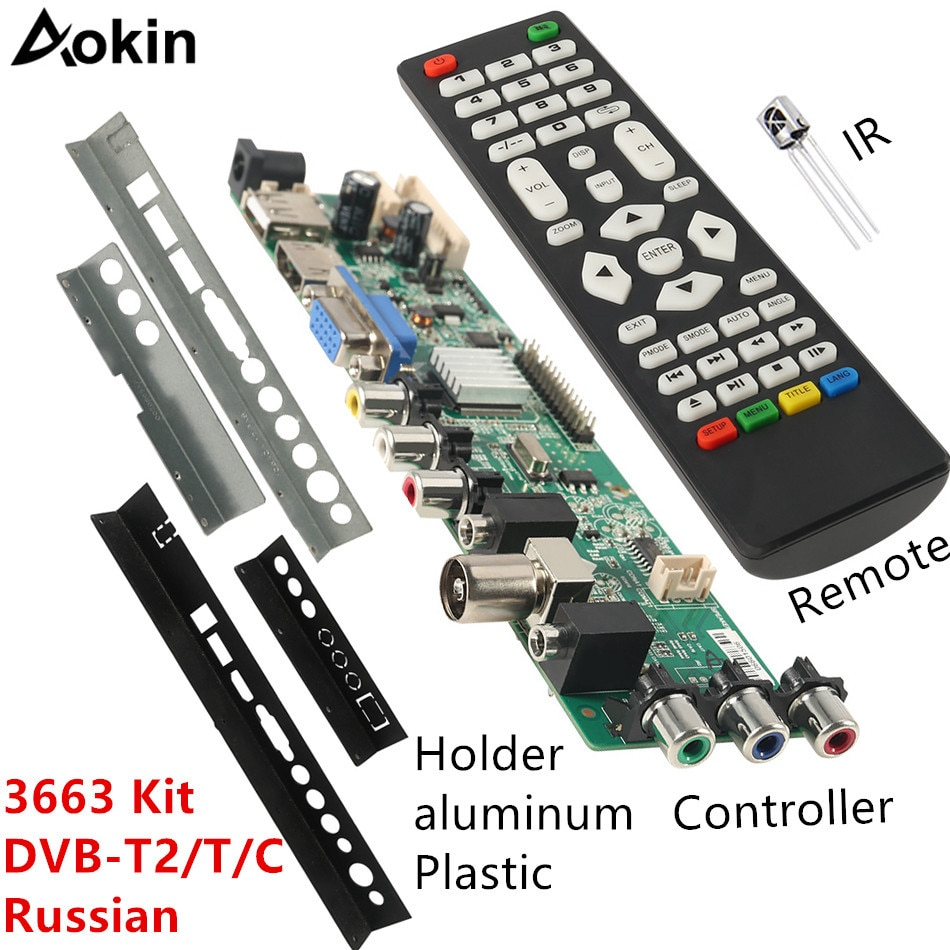 3663 NEW Digital DVB-C DVB-T/T2 Universal LCD LED TV Controller Driver Board+ Iron Plastic Baffle Stand 3463A Russian недорого