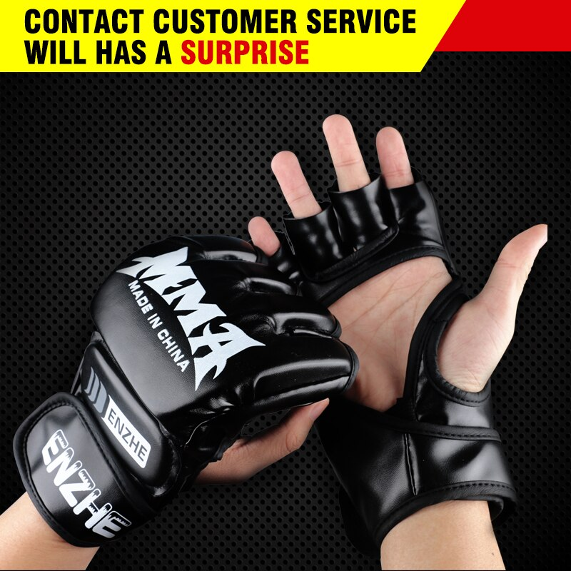 Adult Thick Boxing Gloves MMA Gloves Half finger Sanda Taekwondo Fight MMA Sandbag Gloves Professional TKD Training Equipment