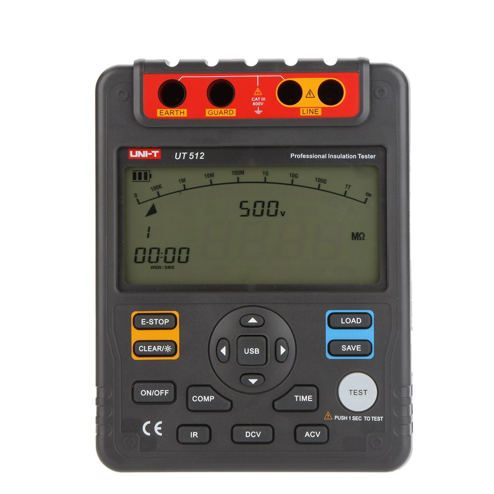 UNI-T medidor de resistencia UT512 Aislamiento digital, medidor de megóhmetro de Bajo ohmios, voltímetro de rango automático, interfaz Usb de 2500v Ohm