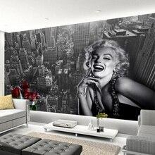 Papier peint Photo de construction noir-blanc Monroe   Moderne Simple, Marilyn Monroe, décor de center commercial, salon, Restaurant, fresque murale 3D