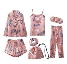Vrouwen Pyjama Sets Lente Zomer 7 Pcs Set Zijdedruk Shorts Lange Mouw Top Elastische Taille Broek Volledige Lounge Nachtkleding nachtkleding