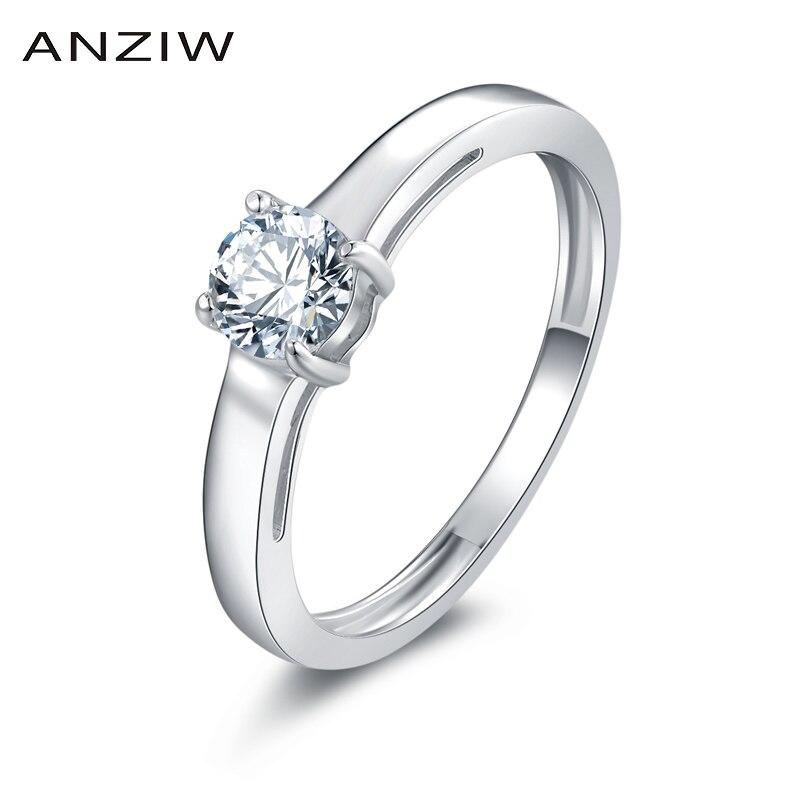 0,5 ct corte redondo anillo de compromiso solitario joyería de boda de moda mujeres nscd anillo nupcial anillos de promesa de amantes