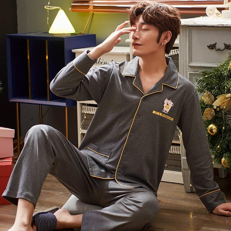 Casual Cotton 2PCS Pyjamas Sleepwear Long Sleeve Men Pajamas Suit Lapel Home Clothes Loose Sleep Set Intimate Lingerie Homewear