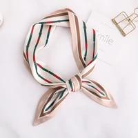 2020 line print women silk scarf small handle bag ribbons handkerchief female head scarves foulard
