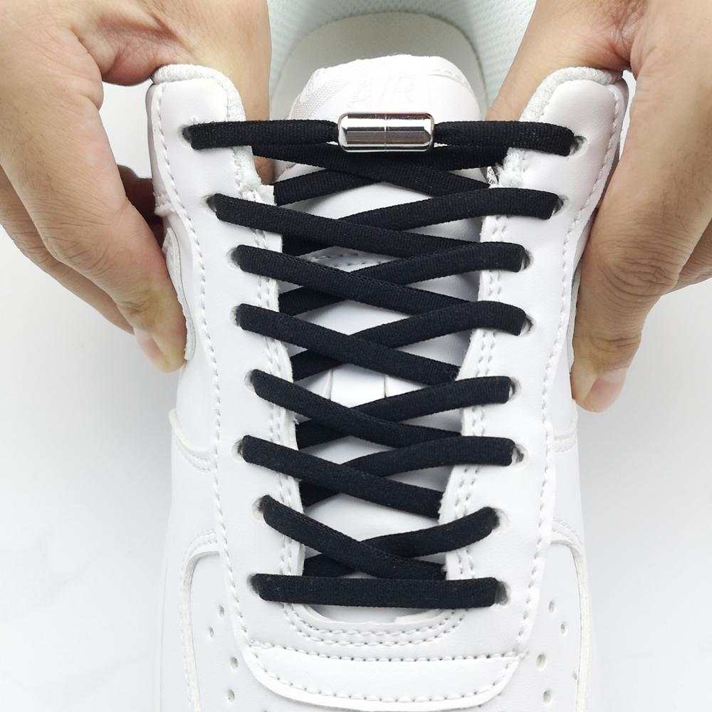 1Pair No tie Shoelaces Round Elastic Shoe Laces Special Metal Lock Shoelace for Men Women Quick Lazy