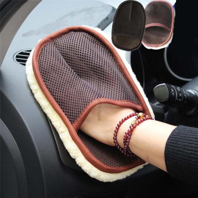 Estilo de coche 15*24cm lana automotriz suave cepillo limpio guantes para arco cepillo borde limpiador mopa coche escobilla goma ventana