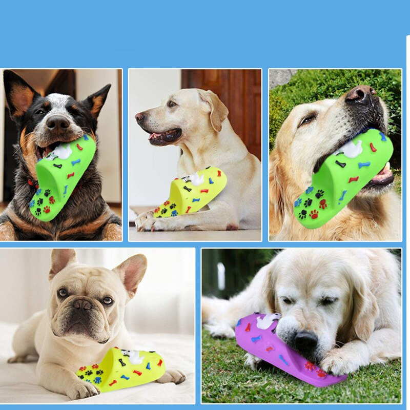Pet Slipper Shape Squeaky Toys Puppy Chew Play Toys Dog Sound Toys PVC Doggy Play Squeaker Chewing Toy for Dog Pet Supplies
