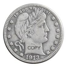USA Barber Quarter Dollars 1913 1913-D 1913-S Different Mint Silver Plated Copy Coin