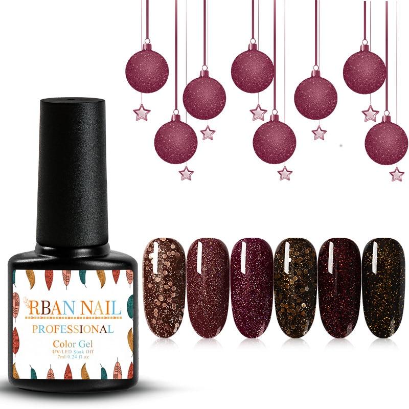 RBAN NAIL Caramel Color Laser Nail Glitter Soak Off UV Gel Hybrid Gel Varnishes Semi Permanent Vernis Manicure Gel Nail Polish