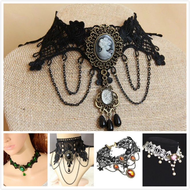 Vintage Victorian Lolita Gothic Lace Necklace Vampire Cosplay Costume Choker Halloween Cocktail Evening Party Dress Jewelry