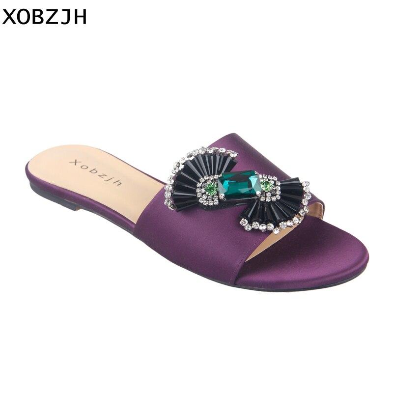 Lujo París mujeres zapatos de verano Sandalias planas 2019 diamantes de imitación señoras cuero púrpura sandalias Zapatillas Zapatos Mujer tamaño grande US11