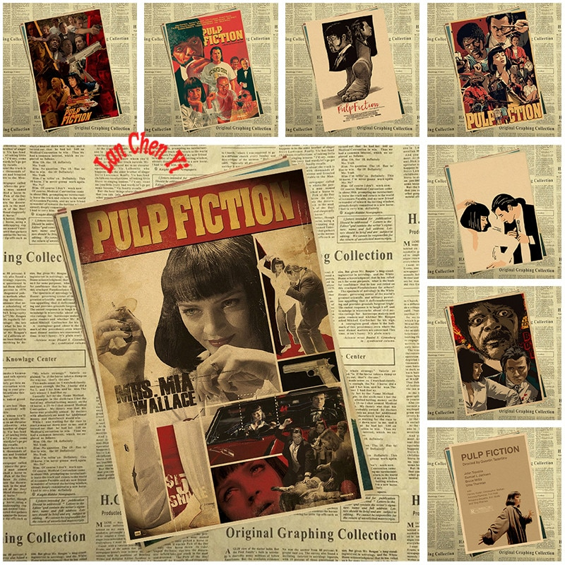Múltiples premios película clásica Pulp Fiction papel Kraft Poster Oficina regalo habitación comedor hogar Decoración de pared adhesivo diseño