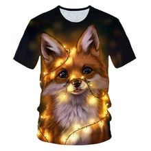 3D Fox Print T shirts Men Women Summer Harajuku Clothing Hip Hop Fashion Tees Tops Cute Animal Graphic T-Shirt S-5XL