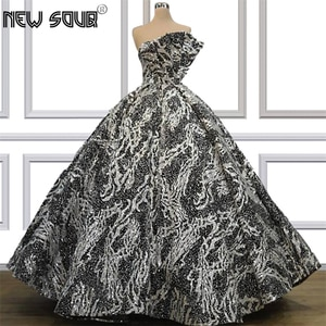 Bling Sliver Ball Gown Evening Dresses 2019 vestidos Custom Made Muslim One Shoulder Prom Dress Dubai Arabic Formal Party Gowns