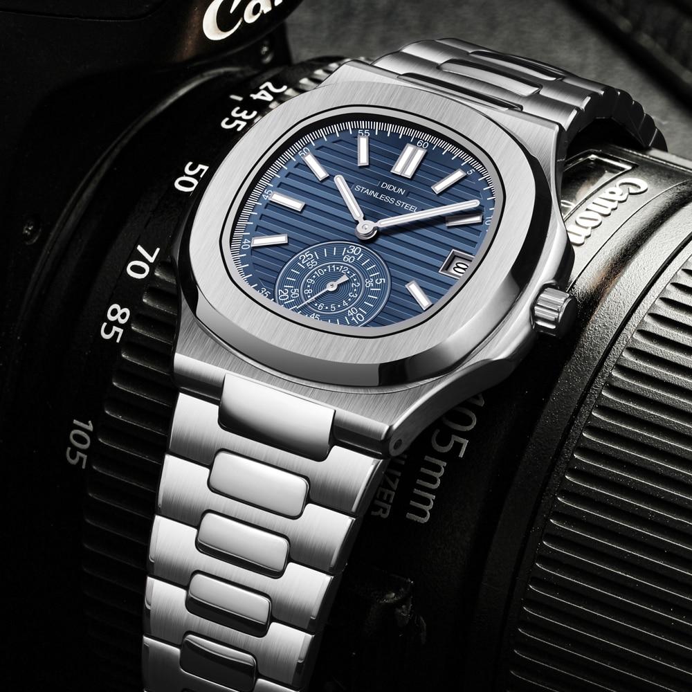 DIDUN-ساعة يد ميكانيكية من الفولاذ المقاوم للصدأ للرجال ، كرونوغراف رجالي ، رياضية ، أعمال ، فاخرة ، دروبشيبينغ