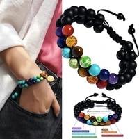 7 chakra natural healing stones beaded bracelet square emperor volcanic frosted stone yoga energy bracelets for men women