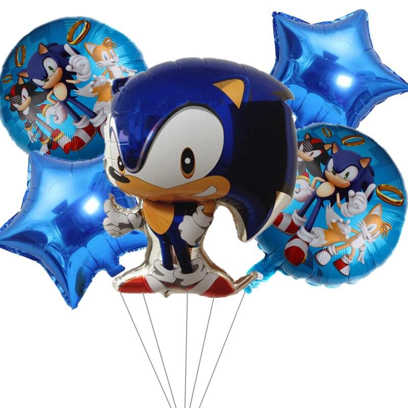 5pcs Sonic ball star aluminum film balloon set hedgehog balloons birthday party decoration cartoon animal ballon toy baby shower
