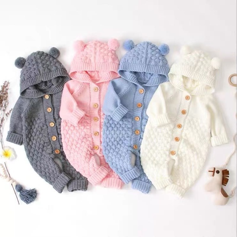 New Autumn Knitted Jumpsuit Children Costume Baby Hooded Newborn Baby Boys Girl Rompers For Baby Winter Clothes Infant 3-24M