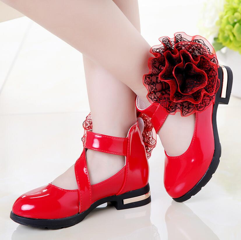 Zapatos de niños, zapatos de princesa de tacón alto, zapatos de moda para niños, zapatos de cuero a la moda para chicas, vestidos de fiesta, baile de boda