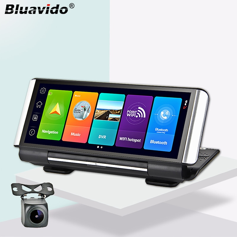 Bluavido 7 بوصة 4G Android 8.1 Car DVR GPS ، 2G RAM ، FHD 1080P ، مسجل فيديو ، عدسة مزدوجة ، كاميرا لوحة القيادة ، WiFi ، تطبيق التحكم عن بعد