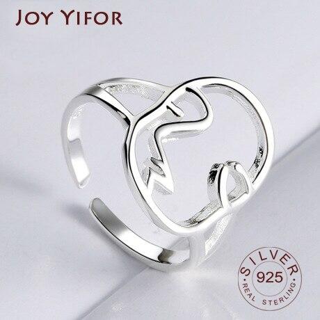 Anel de dedo do coração do triângulo redondo ajustável anel de coração anel de dedo bague femme