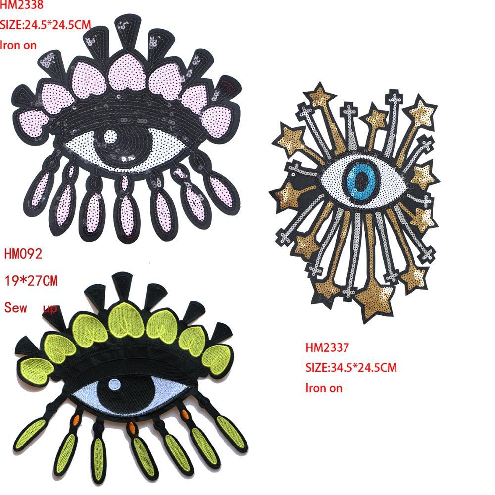 Parches decorativos de dibujos animados UFO Alien Eye icon bordado apliques, parches para DIY Iron on pegatinas, insignias en la mochila, la ropa