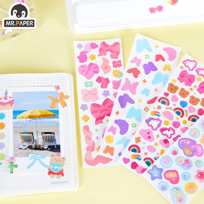 Mr Paper-pegatinas láser de hoja lisa, 8 diseños, 1 unidad/bolsa, estilo Ins,...