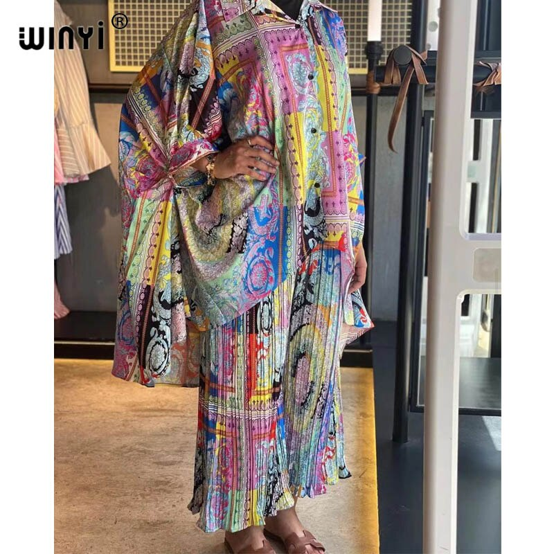أفريقيا قطعتين دعوى البوهيمي المطبوعة أكثر من حجم الخامس الرقبة باتوينغ كم فستان المرأة مطاطا الحرير الطابق طول موضة جديدة المد