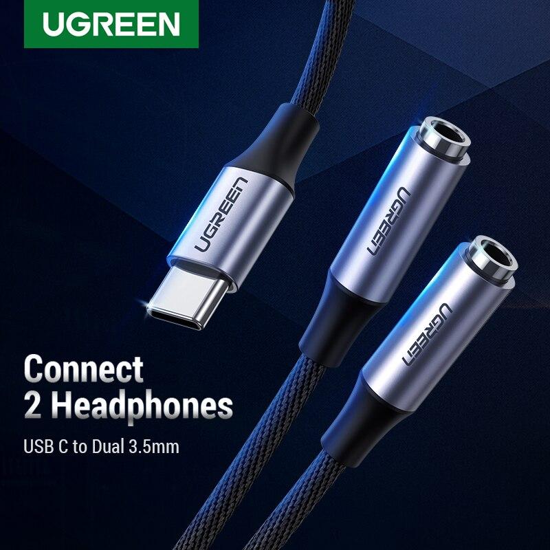 Ugreen di Tipo C per Dual 3.5 Martinetti Auricolare USB C a 3.5mm AUX Doppio Cuffie Adattatore Audio cavo Per huawei Mi10 pro Oneplus 7T