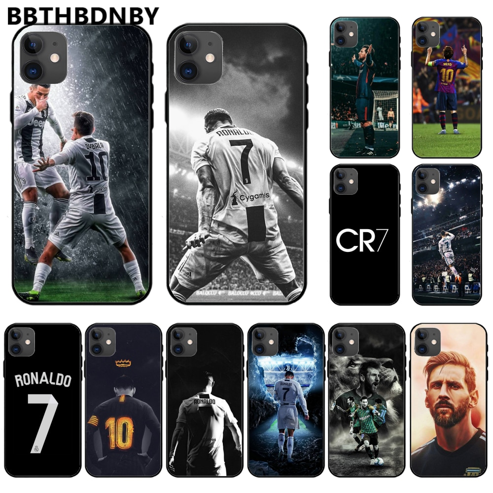 Роналду футбол суперзвезда Лионель Месси ТПУ Черный чехол для телефона Корпус для iphone 11 pro max x xs xr 7 8 plus 6 6s 5 5s 5se