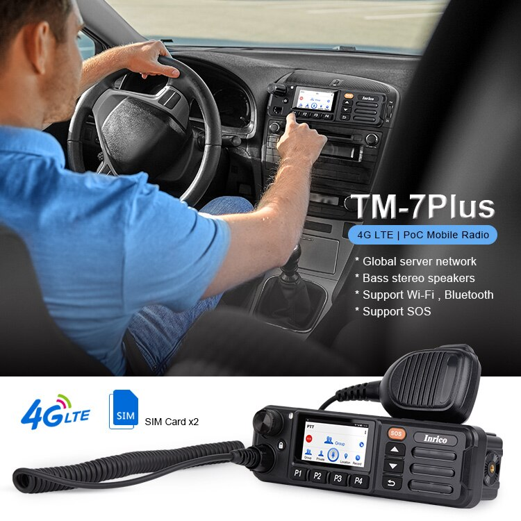 Inrico TM-7plus 4G Zello Network Walkie Talkie SOS Mobile Radio PTT Android 7.0 Car Radio Touch Screen GPS WiFi BT Walkie Talkie
