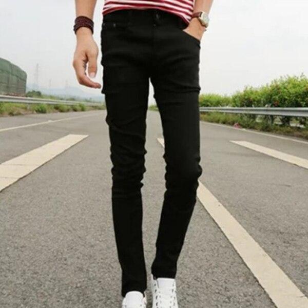 Men Autumn Jeans Zipper Pockets Skinny Middle Waist Pencil Pants Casual Male Trousers TC21