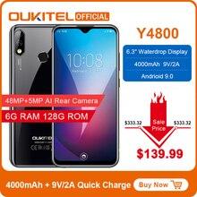 """OUKITEL Y4800 6.3 """"19.59 FHD + Mobile Phone Octa Core 6G di RAM 128G ROM di Impronte Digitali 4000mAh 9V/2A viso ID 48MP Fotocamera Dello Smartphone"""