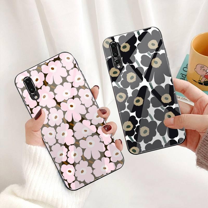 YJZFDYRM Marimekko fleur rose coque souple pour téléphone en verre trempé pour Huawei P30 P20 P10 lite honour 7A 8X 9 10 mate 20 Pro
