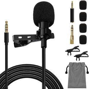 Omnidirectional Metal Microphone 3.5mm Jack Lavalier Tie Clip Microphones Mini Audio Mic for Camera Computer Laptop Phone