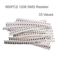 0603 kit de resistor smd sortidas 1ohm-1m ohm 1% 33 valuesx 20 pces = 660 pces amostra kit novo