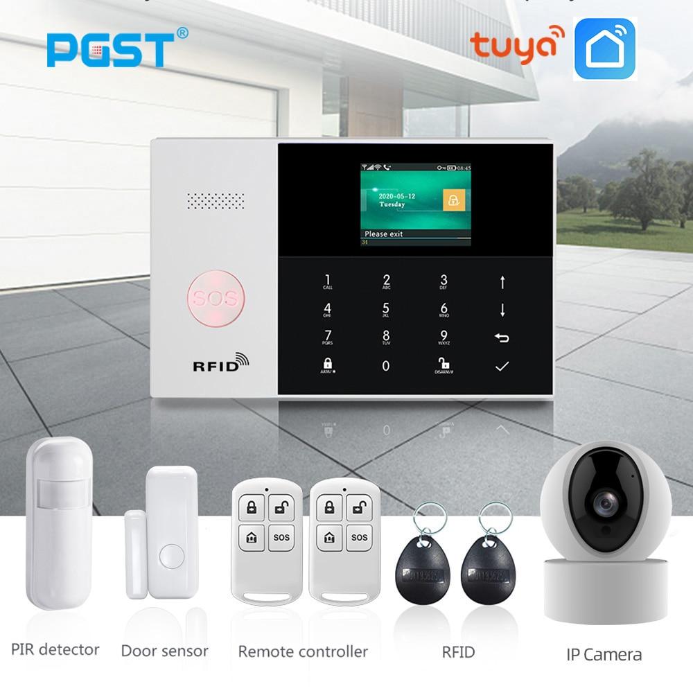 PGST PG105 TUYA GSM نظام إنذار مع واي فاي كاميرا IP كاشف الدخان تتفاعل المنزل جهاز إنذار ضد السرقة المنزل الذكي