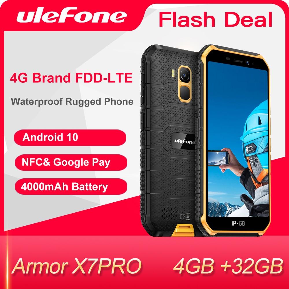 Ulefone درع X7 برو هاتف ذكي متين 4 جيجابايت رام أندرويد 10 هاتف محمول IP68 رباعية النواة NFC 4G الهاتف المحمول مقاوم للماء