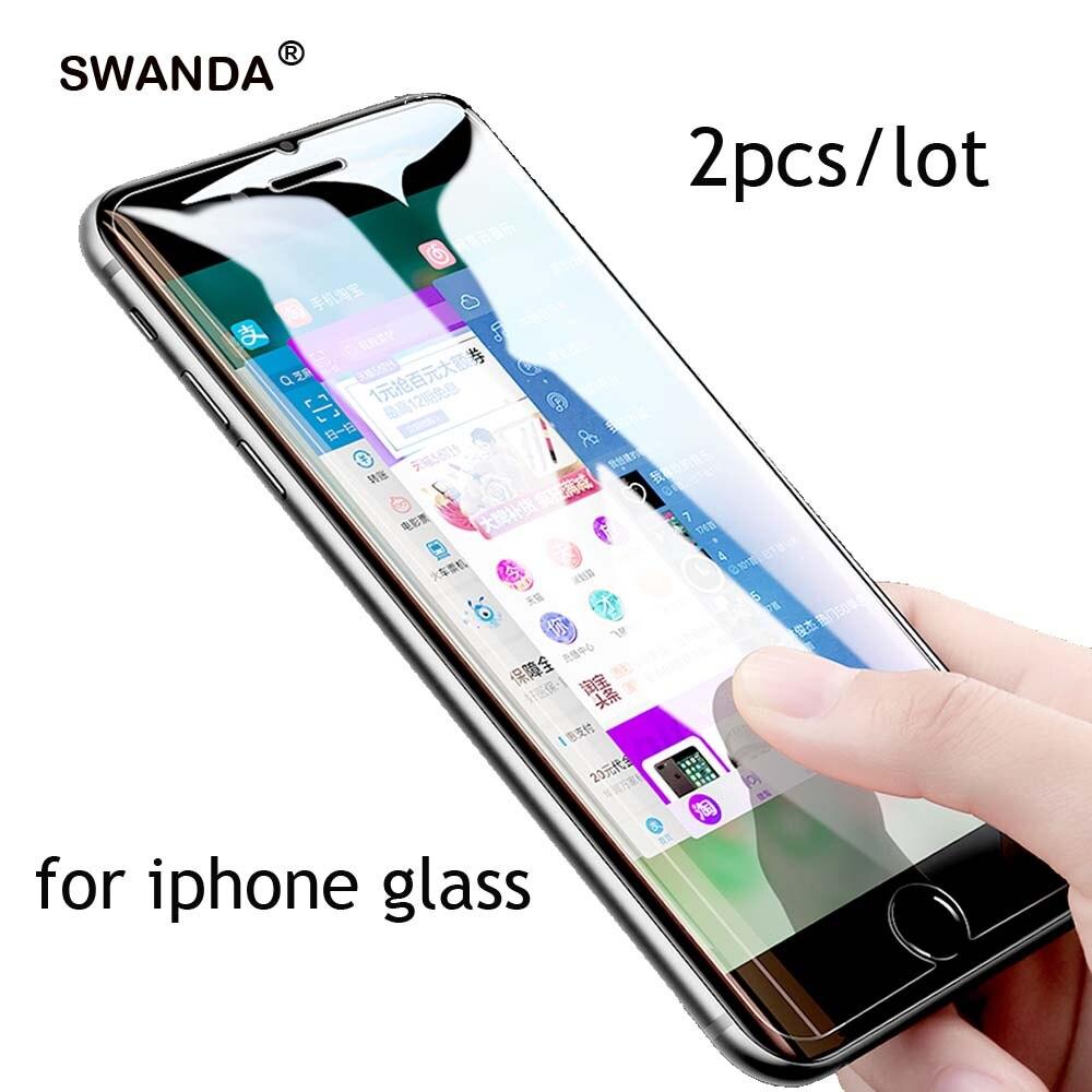 2 uds vidrio templado para iphone 6 6s 7 8 plus XS max XR vidrio para iphone 11 11pro max flim para iphone 6 5 se protectores de pantalla
