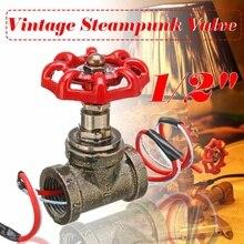 1 pièces 1/2 pouce arrêt vanne lumière Vintage Steampunk interrupteur avec fil pour tuyau deau lampes lampe Loft Style fer Valve Vintage lampe