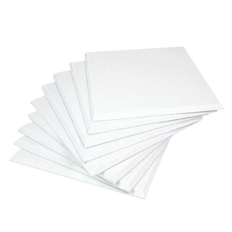 لوحات صوتية بيضاء 12 قطعة عالية الكثافة حافة مشطوف لتزيين الجدران والعلاج الصوتي