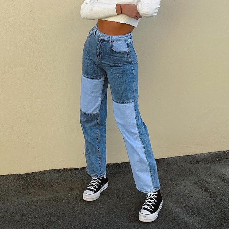 Streetwear Women's Bodycon Jeans woman Fashion Patchwork Harajuku Aesthetic Pants Jeans for women High Waisted Denim 90s Jeans