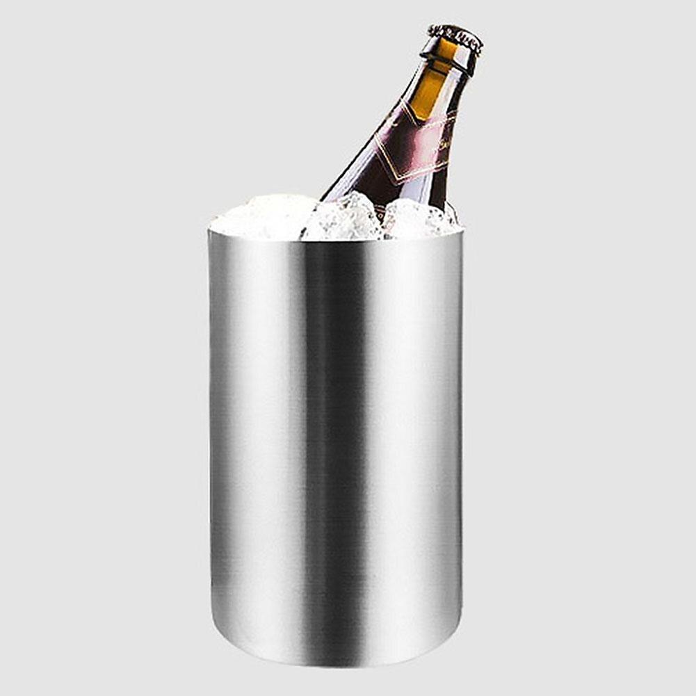 Cubo de hielo de doble pared de acero inoxidable de 2L, cubo de hielo con aislamiento térmico, Moet changon contenedor redondo para, Cubo de fiesta de cerveza vino tinto