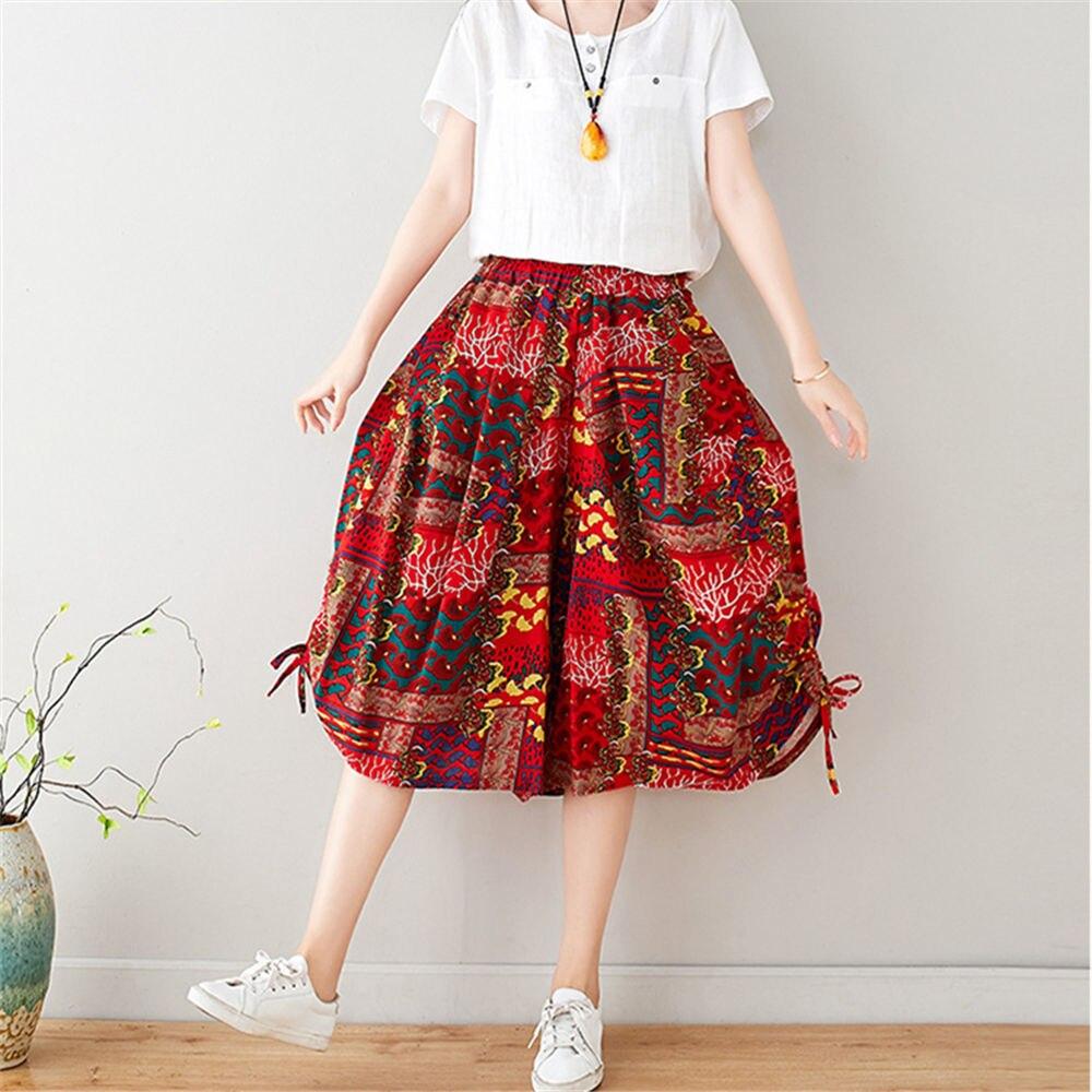 Sarouel Femme verano recortado pantalones de pierna ancha Vintage algodón Lino coreano dulce pantalones de estampado harén 2020