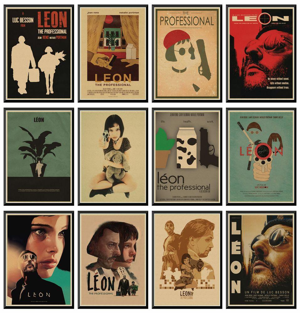 Leon-cartel de película Retro Vintage profesional, decoración de Pared, Pared, decoración del...