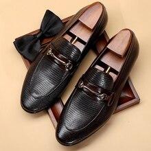 Garniture en métal à la main homme chaussures décontractées en cuir véritable robe formelle mocassins bout pointu sans lacet hommes de mariage appartements DX160